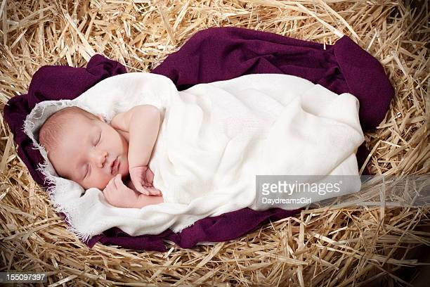nativity with baby sleeping in manger - nativity stock photos and pictures