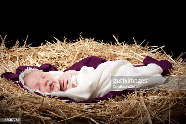 nativity with baby sleeping in manger - manger stock photos and pictures