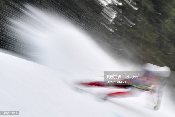 TOPSHOT Natko Zrncic Dim of Croatia skis during the first practice of the FIS Alpine World Cup Men's downhill in Kitzbuehel Austria on January 16...