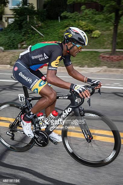 Natnael Berhane of the MTNQhubeka team during a solo breakaway during stage 5 of the Tour of Utah on August 7 2015 in Salt Lake City Utah