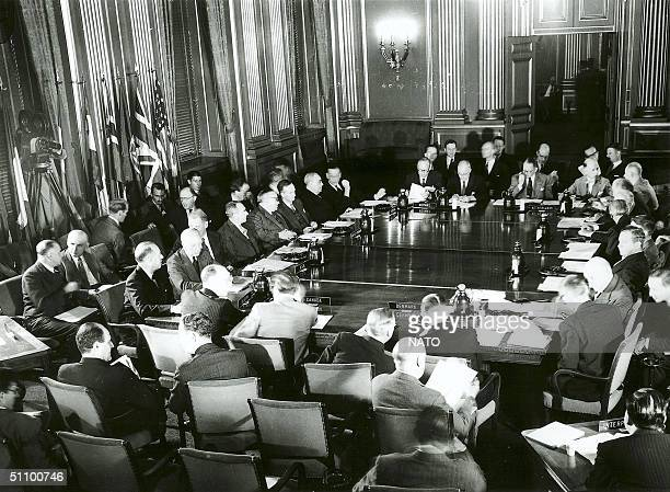 The First Session Of The North Atlantic Council In Brussels September17, 1949. Nato Celebrates Its Fiftieth Anniversary On Washington Dc On April...
