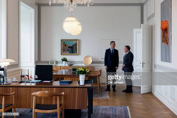 Nato General Secretary Jens Stoltenerg meets Danish Prime Minister Lars Lokke Rasmussen at the PM's office at Christiansborg Palace on March 17 2017...