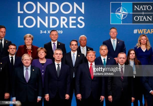 Nato heads of government : Britain's Prime Minister Boris Johnson, NATO Secretary General Jens Stoltenberg, US President Donald Trump and Turkey's...