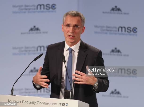 Nato secretary general Jens Stoltenberg gives his speech during the 55th Munich Security Conference on February 15 2019 in Munich Germany The annual...