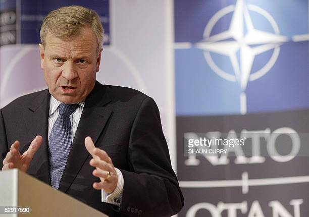 Nato SecretaryGeneral Jaap de Hoop Scheffer adddresses a press conference in central London on September 19 2008 NATO ministers grappled Friday with...