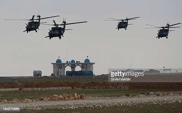 NATOled International Security Assistance Force helicopters fly over the city of MazariSharif on March 23 2013 Karzai's office this week branded the...