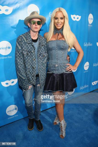 Nats Getty and Gigi Gorgeous at the UNICEF Next Generation Masquerade Ball at Clifton's Republic on October 27 2017 in Los Angeles California