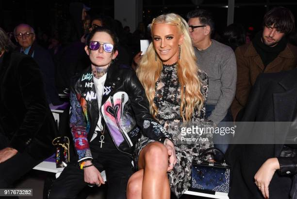 Nats Getty and Gigi Gorgeous attend Anna Sui Front Row February 2018 New York Fashion Week at Spring Studios on February 12 2018 in New York City