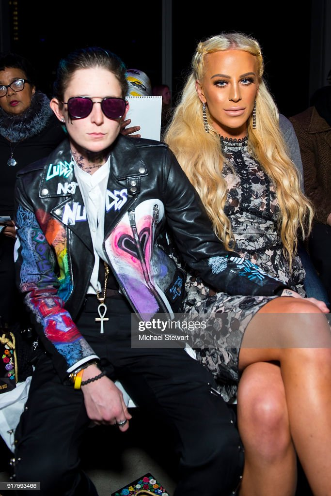 Nats Getty (L) and Gigi Gorgeous attend the Ann Sui fashion show during New York Fashion Week at Gallery I at Spring Studios on February 12, 2018 in New York City.