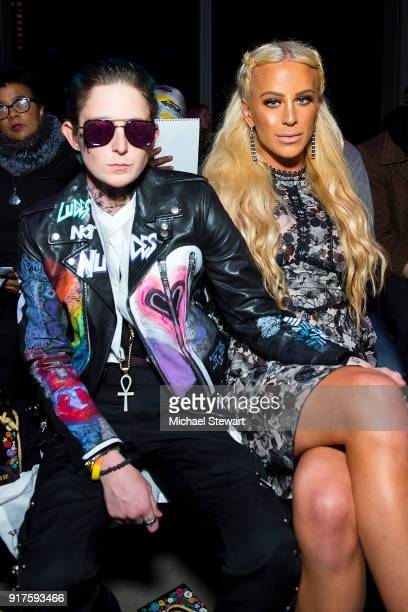 Nats Getty and Gigi Gorgeous attend the Ann Sui fashion show during New York Fashion Week at Gallery I at Spring Studios on February 12 2018 in New...