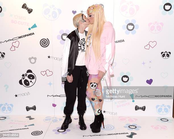 Nats Getty and Gigi Gorgeous attend the Nicopanda Ball Macy's Collection Launch at Macy's Herald Square on April 11 2018 in New York City