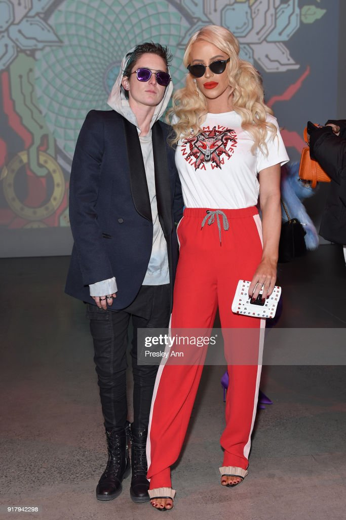 Nats Getty (L) and Gigi Gorgeous attend the Vivienne Tam front row during New York Fashion Week at Spring Studios on February 13, 2018 in New York City.