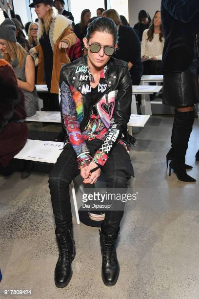 Nats Getty attends the Badgley Mischka front row during New York Fashion Week The Shows at Gallery I at Spring Studios on February 13 2018 in New...