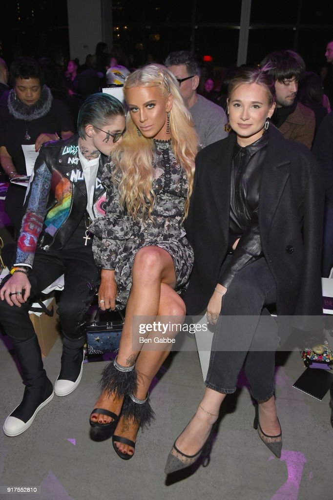 Nats Getty, Gigi Gorgeous, and Danielle Bernstein attend the Anna Sui fashion show during New York Fashion Week: The Shows at Gallery I at Spring Studios on February 12, 2018 in New York City.