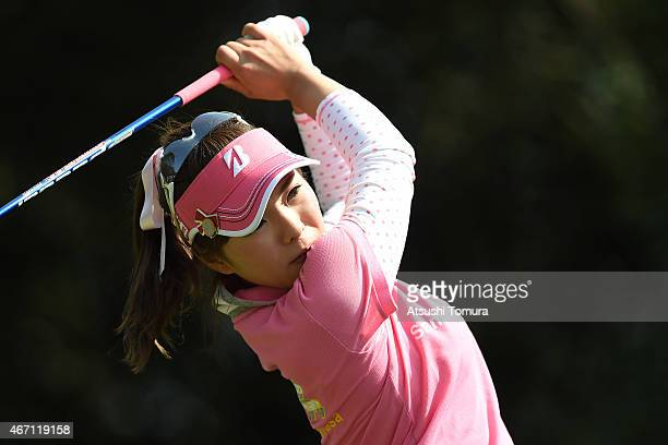 Natsuka Hori of Japan hits her tee shot on the 13th hole during the second round of the TPoint Ladies Golf Tournament at the Wakagi Golf Club on...