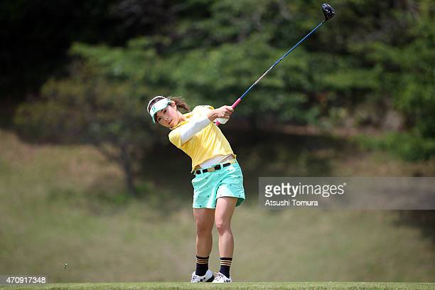 Natsuka Hori of Japan hits her tee shot on the 5th hole during the first round of Fujisankei Ladies Classic at the Kawana Hotel Golf Course Fuji...