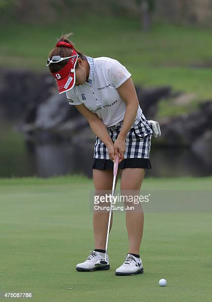 Natsuka Hori of Japan plays a putt during the first round of the Resorttrust Ladies at the Maple Point Golf Club on May 29 2015 in Yamanashi Japan