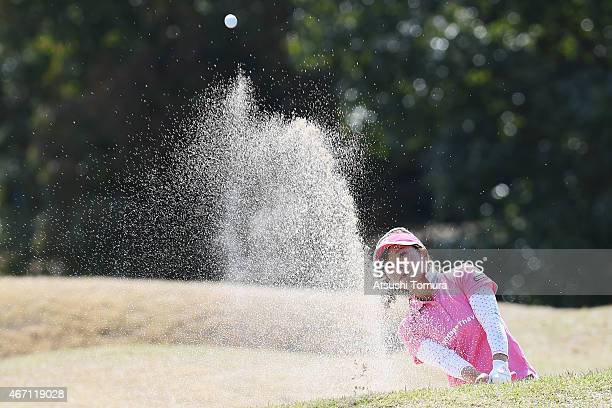 Natsuka Hori of Japan plays her shot out of a bunker on the 11th hole during the second round of the TPoint Ladies Golf Tournament at the Wakagi Golf...