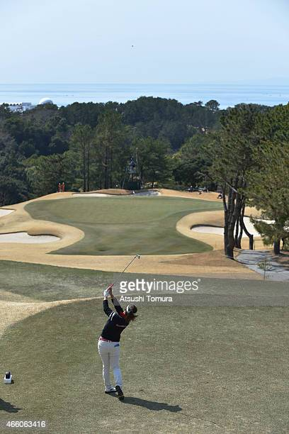 Natsuka Hori of Japan plays her tee shot on the 14th hole during the first round of the Yokohama Tyre PRGR Ladies Cup at the Tosa Country Club on...