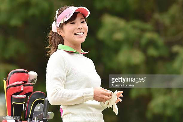 Natsuka Hori of Japan smiles during first round of the TPoint Ladies Golf Tournament at the Wakagi Golf Club on March 20 2015 in Takeo Japan