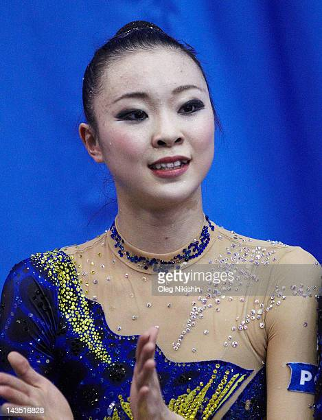 Natsuki Fukase of Japanese team during competition of FIG Rhythmic Gymnastics World Cup in Penza on April 28 2012 in Penza Russia