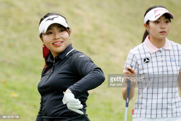 Natsuki Hatano of Japan smiles on the second hole during the first round of the CyberAgent Ladies Golf Tournament at Grand fields Country Club on...
