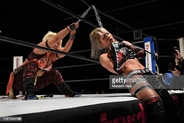 Natsuko Tora and Giulia compete during the Women's Pro-Wrestling 'Stardom' at the Shinkiba 1st Ring on January 03, 2021 in Tokyo, Japan.