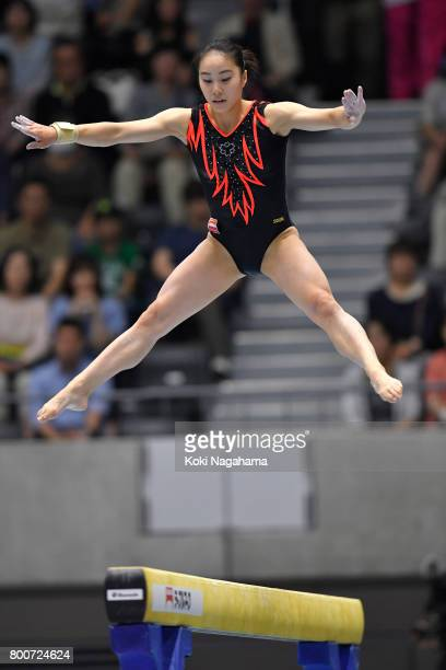 Natsumi Sasada competes on the balance beam during Japan National Gymnastics Apparatus Championships at the Takasaki Arena on June 25 2017 in...