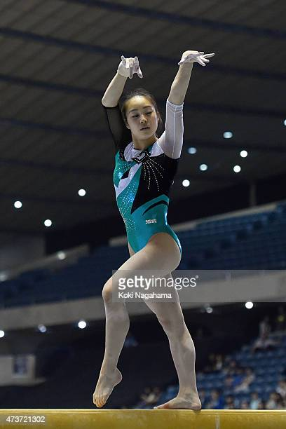 Natsumi Sasada competes on the Balance Beam during the Artistic Gymnastics NHK Trophy at Yoyogi National Gymnasium on May 17 2015 in Tokyo Japan