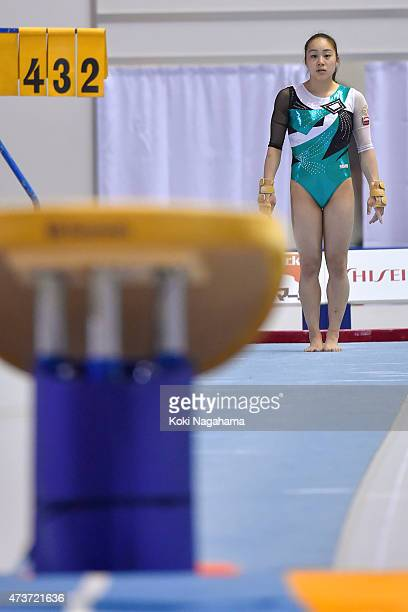 Natsumi Sasada competes on the Vault during the Artistic Gymnastics NHK Trophy at Yoyogi National Gymnasium on May 17 2015 in Tokyo Japan