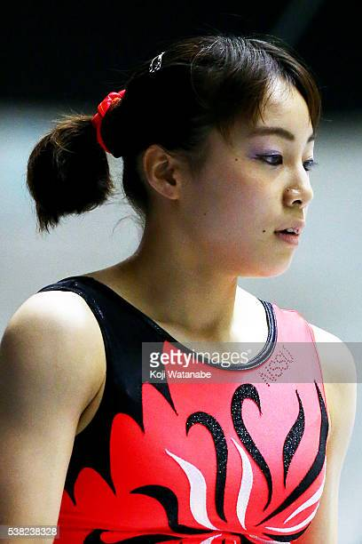 Natsumi Sasada looks on the AllJapan Gymnastic Appratus Championshipsat Yoyogi National Gymnasium on June 5 2016 in Tokyo Japan