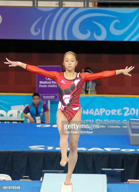 Natsumi Sasada of Japan competes in the Balance Beam of the Women's Individual All Around of Artistic Gymnastics during day five of the Youth...