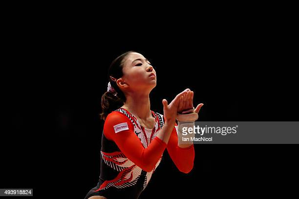 Natsumi Sasada of Japan competes on the Floor during Day One of the 2015 World Artistic Gymnastics Championships at The SSE Hydro on October 23 2015...