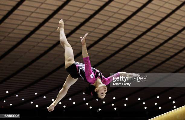 Natsumi Sasada of Japan performs her beam routine during day two of the 67th All Japan Artistic Gymnastics Individual All Around Championship at...