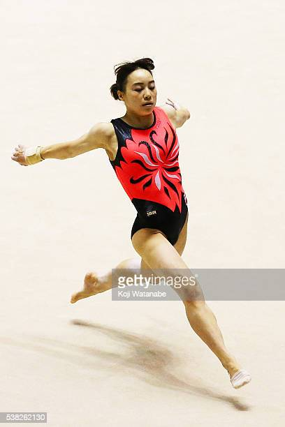 Natsumi Sasada on the floor during the AllJapan Gymnastic Appratus Championshipsat Yoyogi National Gymnasium on June 5 2016 in Tokyo Japan