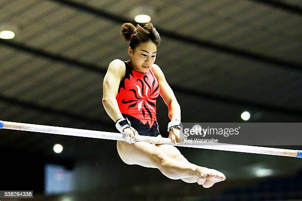 Natsumi Sasada on the uneven bars during the AllJapan Gymnastic Appratus Championshipsat Yoyogi National Gymnasium on June 5 2016 in Tokyo Japan