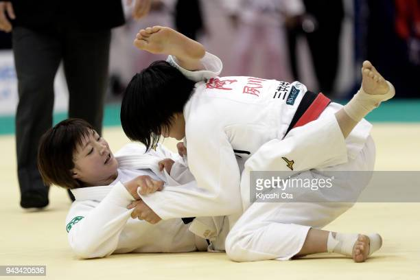 Natsumi Tsunoda competes against Uta Abe in the Women's 52kg semifinal match on day two of the All Japan Judo Championships by Weight Category at...