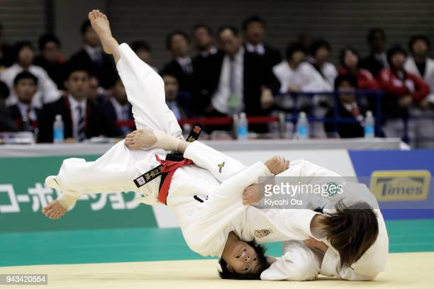 Natsumi Tsunoda throws Uta Abe to win the Women's 52kg semifinal match on day two of the All Japan Judo Championships by Weight Category at Fukuoka...