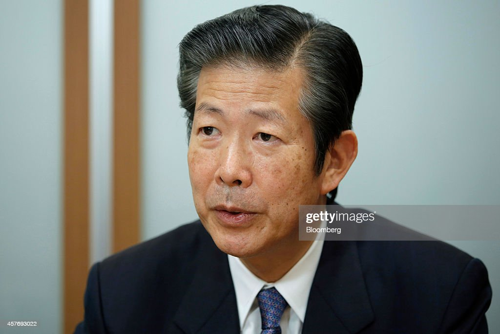 Natsuo Yamaguchi, chief representative of the New Komeito Party, speaks during an interview in Tokyo, Japan, on Wednesday, Oct. 22, 2014. The party is Prime Minister Shinzo Abes Buddhist-backed junior coalition partner. Photographer: Kiyoshi Ota/Bloomberg via Getty Images