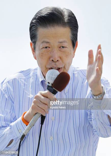 Natsuo Yamaguchi, head of the Komeito party, makes a speech in Nishinomiya, western Japan, on July 7 during campaigning for the July 21 upper house...
