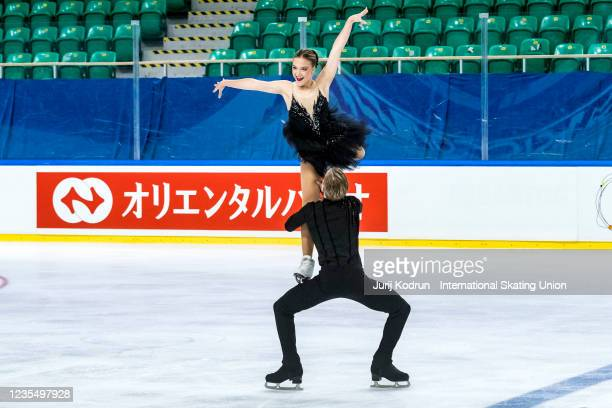 Nattalie DAlessandro and Bruce Waddell of Canada perform during the ISU Junior Grand Prix of Figure Skating at Tivoli Hall on September 25, 2021 in...