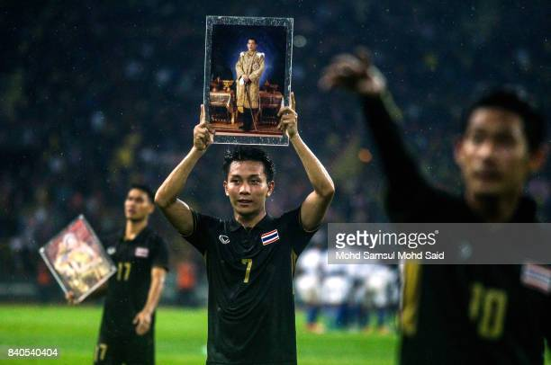 Nattawut Sombatyotha of Thailand celebrates after winning the game against Malaysia during the Men's Football Final at the Shah Alam Stadium as part...