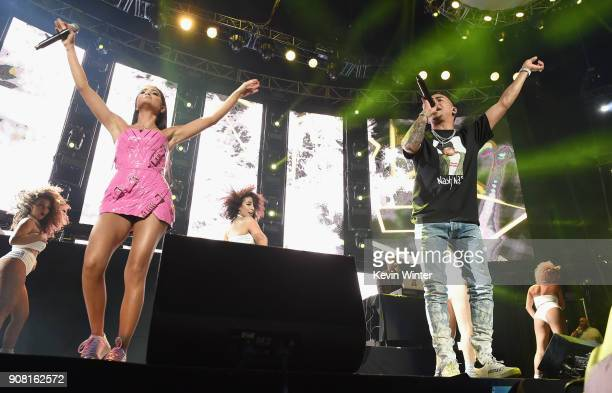 Natti Natasha and Ozuna perform onstage during Calibash Los Angeles 2018 at Staples Center on January 20 2018 in Los Angeles California