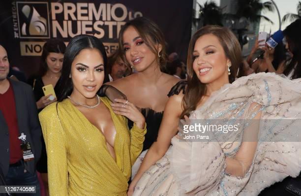 Natti Natasha Anitta and Thalia arrive at Univision's 31st Edition Of Premio Lo Nuestro A La Musica Latina Pink Carpet at American Airlines Arena on...