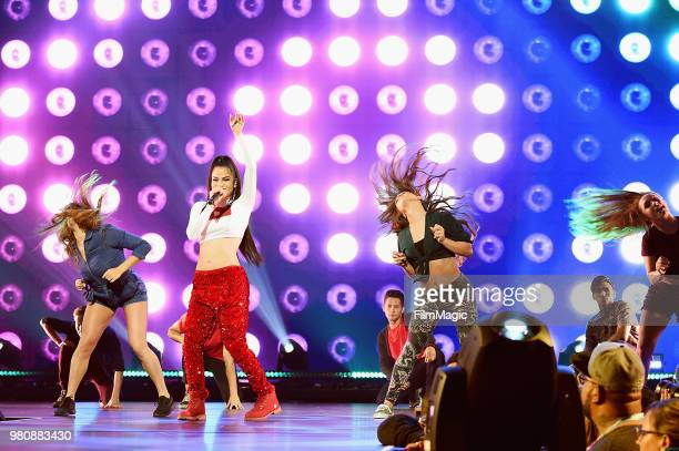 Natti Natasha appears at YouTube OnStage during VidCon at the Anaheim Convention Center Arena on June 21 2018 in Anaheim California