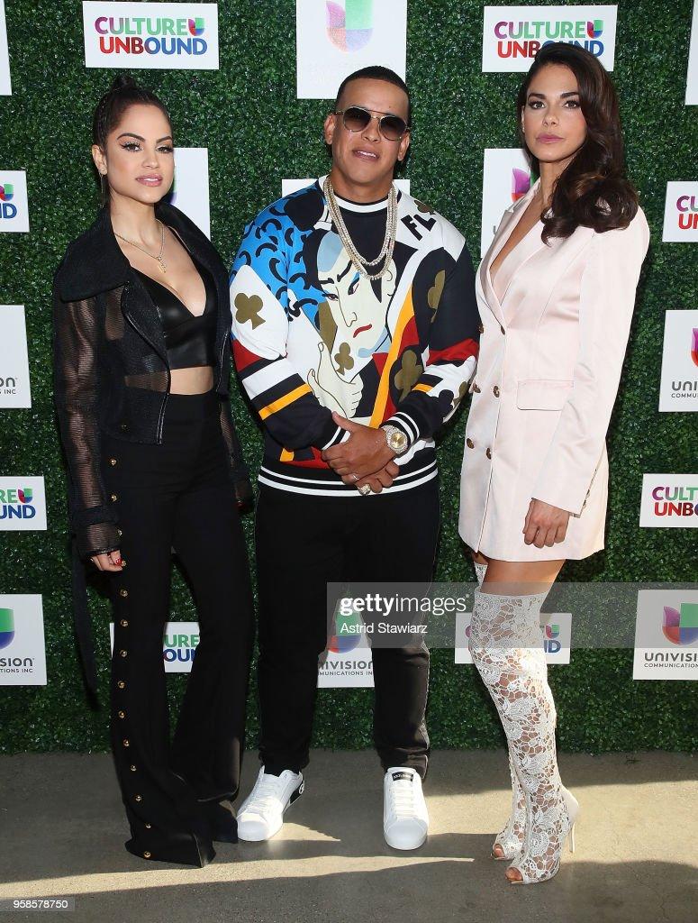 Natti Natasha, Daddy Yankee and Livia Brito Pestana attend the 2018 Univision Upfront at Spring Studios on May 14, 2018 in New York City.