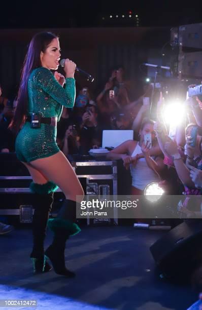 Natti Natasha In Concert at LaMusica Pijama Party at The Wynwood Yard on July 19 2018 in Miami Florida