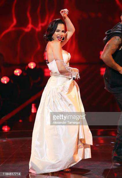 Natti Natasha is seen performing during Univision's Reina de la Cancion Finals at Univision Studios on November 24 2019 in Miami Florida