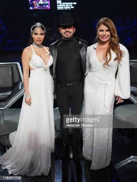 Natti Natasha Joss Favela and Olga Tanon are seen during Univision's Reina de la Cancion Finals at Univision Studios on November 24 2019 in Miami...