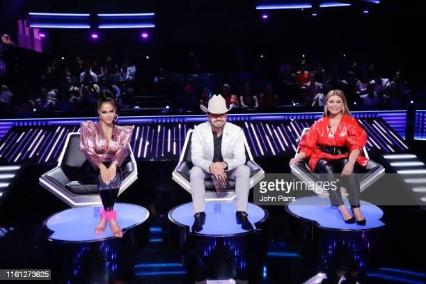 Natti Natasha Joss Favela and Olga Tanon judge Univision's Reina de la Cancion at Univision Studios on August 7 2019 in Miami Florida